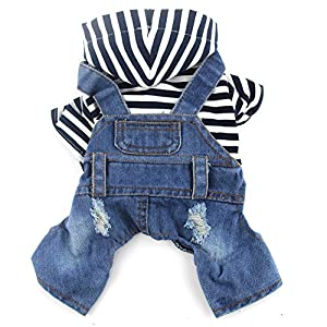 DOGGYZSTYLE Pet Dog Cat Clothes Blue Striped Jeans Jumpsuits One-Piece Jacket Costumes Apparel Hooded Hoodie Coats for Small Puppy Medium Dogs (XS, Blue)