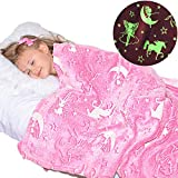 Unicorn Blanket Glow in The Dark Luminous Fairy Blanket for Kids - Soft Plush Pink Fantasy Star Blanket Throw - Large 60in x 50in Glowing Magical Blankets Gift for Girls (Pink Unicorn and Fairy)