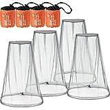 Hestya 4 Piezas de Mosquitera de Cabeza Malla Red de Proteger Cabeza para Prevención de Insectos Mosquito de Senderismo Acampar Escalada al Aire Libre (Talla Grande, Gris)