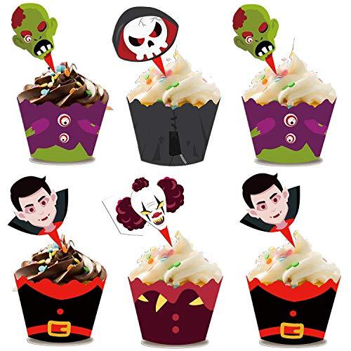 Sayala 96 Piezas de envolturas y Toppers de Cupcakes de Halloween,Suministros de Decoraciones de Favor de Fiesta de Halloween