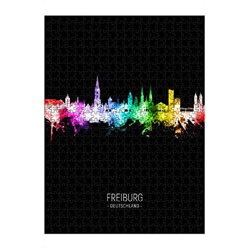 artboxONE Ravensburger-Puzzle L (500 Teile) Städte Freiburg Skyline Colour Black