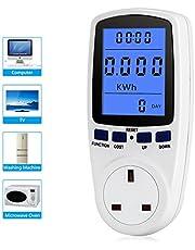 Multifunktionell blå bakgrundsbelyst effektmätaruttag, strömförbrukningsmonitor StrömmätarkontakVolt Amps KWH Consumption Analyzer