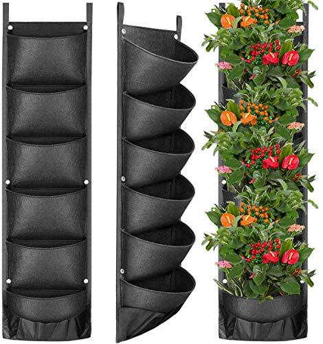Fengaim Aggiornato Più profondo e più grande Sacchi per piante 6 tasche Fioriera da parete verticale da giardino Sacchi per piantare appesi per piante da giardino recintate da giardino