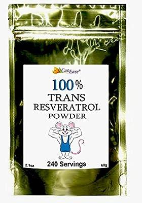 CurEase 100% Pure Trans Resveratrol Powder 240 Servings (60 Grams) 250mg Per Servings