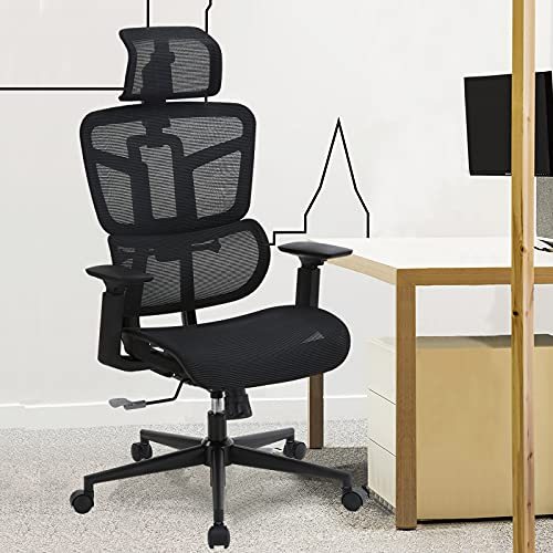 SAMOFU Ergonomic Office Chair, [Newer Model] High Back Desk Chair with Lifting Backrest and 3D Lumbar Support, Mesh Computer Chair with 5 Years Warranty, 300 Lbs Capacity Task Chair Executive Chair