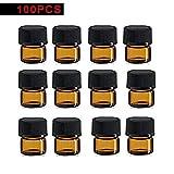 Sanmubo 100 stücke Mini Glasflasche Bernstein Probenfläschchen 1 ml Braunglas Tropfflasche Leere Probenfläschchen Glas Augentropfflasche Aromatherapie Flüssigkeit Parfüm Ätherisches Öl Flasche