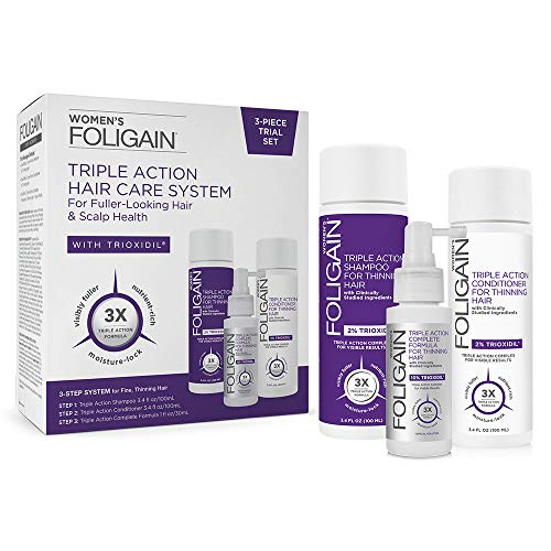 FOLIGAIN - Complexe Triple Action pour perte de cheveux pour les femmes avec 10% de Trioxidil - Shampoing, Conditionneur, et Lotion