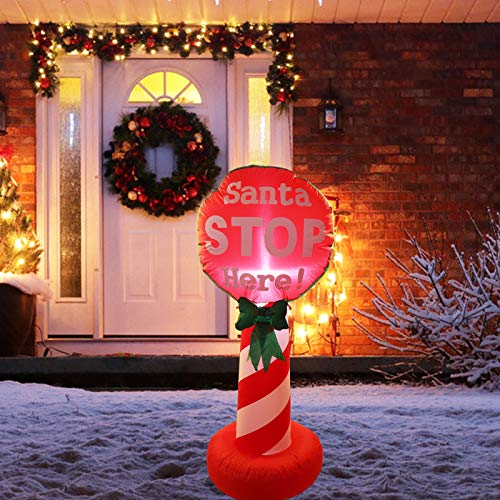 Vigdur 4FT Tall Christmas Inflatable Santa Stop Here Sign Blow Up Outdoor Yard Garden Lighted Indoor Decorations