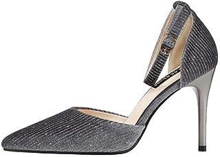 KTYXDE High Heels Women's Fashion Casual Elegant Sexy Shallow Shoes Sandals Stiletto 9.5CM 4 Color Women's Shoes (Color : Gray, Size : EU37/UK4.5-5/CN37)