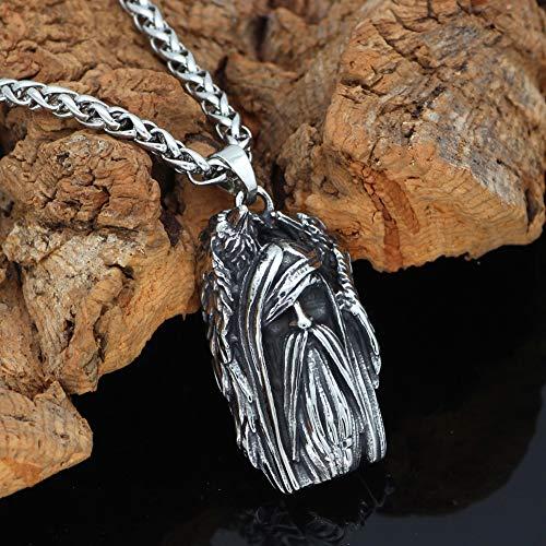 7 Estilos Acero Inoxidable Odin Colgante Amuleto Cadena Plata Trigo, Collar Joyería con Escudo de Lobo Rúnico Vikingo Noruega, Traje de Nudo de Muerte Gótico Celta Regalo,Crow Odin