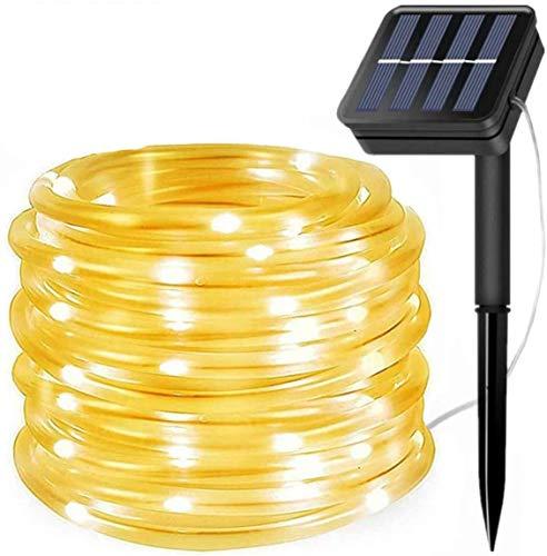 Cadena de luces solares para exteriores, 100 LED resistente al agua alambre de cobre 8 modos decoración solar para jardín, balcón, terraza, patio, árboles, boda, Navidad, fiesta (blanco cálido)