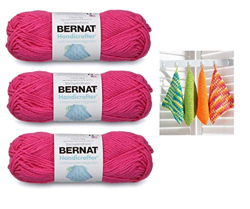 Bernat Handicrafter Cotton Solids Yarn, 1.75 oz, Gauge 4 Medium, 100% Cotton, Hot Pink 3-Pack Bundle with Dishcloth Color Pattern