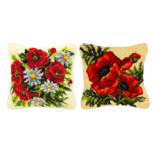 Bonarty Kits de Gancho de Pestillo de 2 Piezas para Funda de Almohada de Tiro DIY Funda de Cojín de Sofá Flores