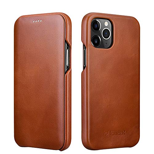 ICARER Compatible with iPhone 12 Case&iPhone 12 Pro Leather Case,Genuine Leather Flip Folio Opening Cover in Curved Edge Design, Slim Thin Side Case Compatible for iPhone 12&12 Pro 6.1 Inch (Brown)