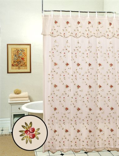 Creative Linens Embroidered Lace Roses Floral Shower Curtain with Attached Valance Beige