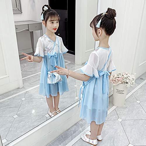 GEMORE de los niños Muchachas de la Ropa Prendas de Vestir Chinos Han Viento Chaqueta de Falda de la Ropa Elegante Traje de Hadas Ultra-centavos Visten Marea (Color : Blue, 身高 Height : 120cm)