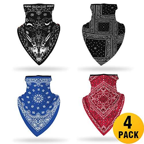 Halstuch aus Baumwolle laufschal nickituch - Staub, Sonnenschutz, kühle, leichte Sturmhaube, Bandana, Kopfbedeckung hemdg 4 Stück