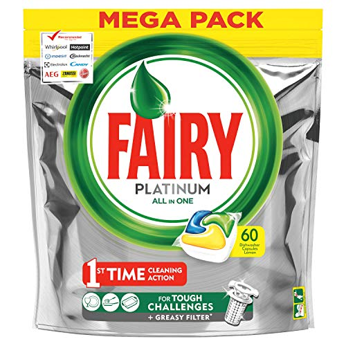 Fairy Platinum 60 pastillas para lavavajillas, detergente en paquete de 60 cápsulas de limón