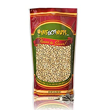 Raw Sunflower Seed Kernels By We Got Nuts - Premium Quality Kosher Shelled Sunflower Seeds - Natural & Healthy Fitness & Diet-Friendly Snack- Raw Shelled & Unsalted- Air-Tight Resalable Bag- 5 lbs