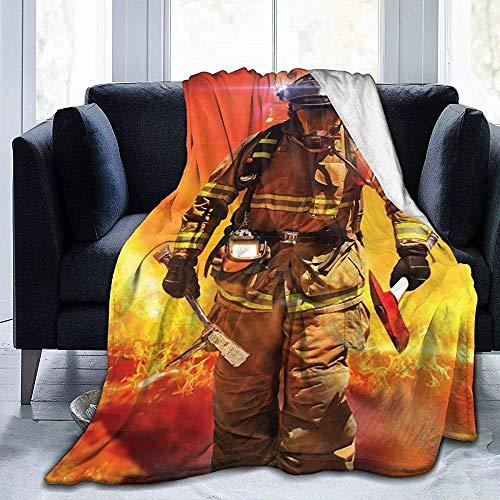 Flannel Custom gooien deken, brandweerman in een gebouw op brand zoeken dekens voor Winter vliegtuig, groot