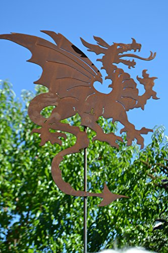 Gartenstecker Drache- Figur 60 cm-außergewöhnlicher Metallstecker - Höhe gesamt 120 cm - Fabelwesen Drache-Gartendekoration - sehr gute Qualität