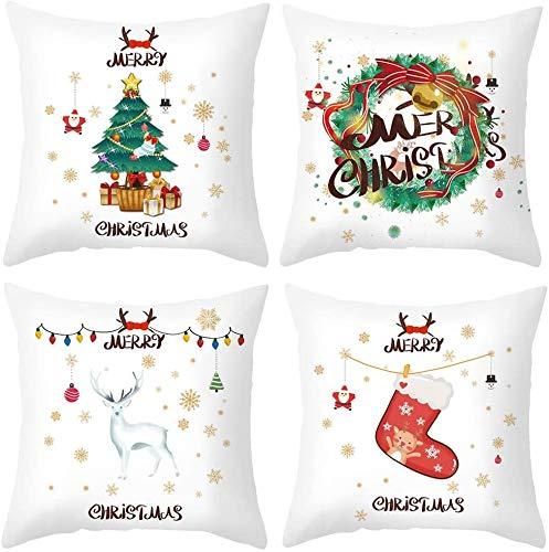 Tiheepok Weihnachts-deko Kissenbezug 45x45cm Zierkissenbezüge 4 Stück Kissenbezug Weihnachten,Kissenbezug Frohe Weihnachten,Wohnkultur Kurzer Plüsch Dekokissen,Weihnachten Deko Kissenbezug