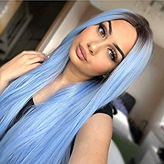 Silver Blue Wig Pastel Straight Long Wigs Ombre Synthetic Wig with Dark Roots Middle Parting Colored Halloween Cosplay Full Head Wigs (Light Blue/26inch)