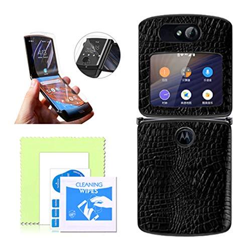 Motorola Razr 5G Handyhülle, Motorola Blade 5G Lederschutzhülle, Moto Razr 2020 5G Klappbildschirm Clamshell Hülle, mit weichem TPU Bildschirmschutz