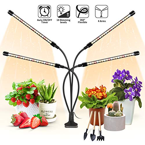 Plant Light for Indoor Plants, Aokrean Upgraded 4 Arms Grow Light Full Spectrum with 3/9/12H Timer 10 Dimmable Levels, Desk Plant Lamp for Greenhouse Hydroponics Succulent Flower