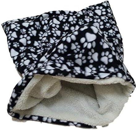 55% OFF Weenie Warmers Black Paw Sherpa Lined Dog Bed Sleeping supreme Bag Cat