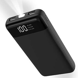 モバイルバッテリー 20000mah FITROM 大容量 軽量2USBポート有線両用 2台同時充電 地震/災害/旅行/出張/LEDライト/アウトドア活動 スマホ 急速充電器 iPhone、iPad、Android各種対応 (ブラック)