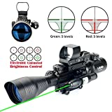 UUQ 4-12X50 Rifle Scope Red &Green Illuminated Range Finder Reticle W/Green Laser Sight and 4 Tactical...