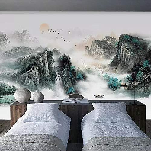 Awttmua Papel Tapiz Fotográfico 3D Nuevo Estilo Chino Montaña Agua Paisaje Pintura Sala De Estar Estudio Pared Decoración Mural 400cmx280cm