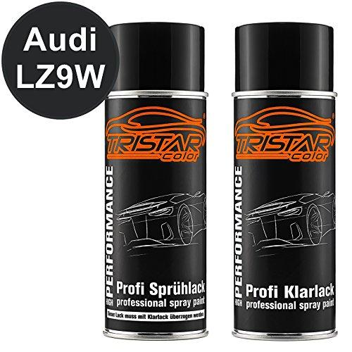 TRISTARcolor Autolack Spraydosen Set für Audi LZ9W Ebonyschwarz Perl Basislack Klarlack Sprühdose 400ml