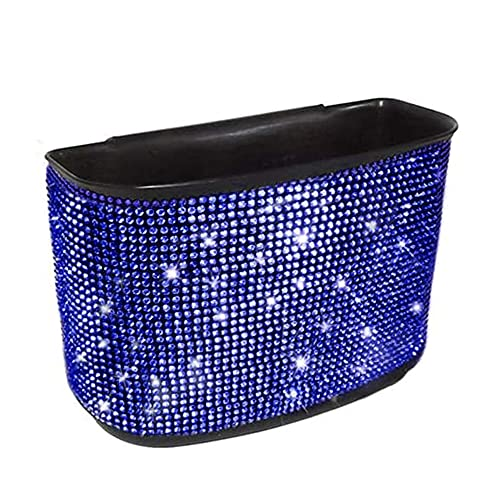 Cubo de basura de cristal para coche, para colgar en coche, para colgar en coche, basura, para coche, oficina, hogar, (nombre del color: azul)