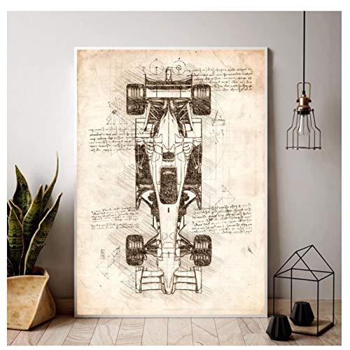 Fórmula 1 Vista Superior del Coche Dibujos de diseño Pintura al óleo póster Impresiones Lienzo Cuadro de Pared para la decoración...