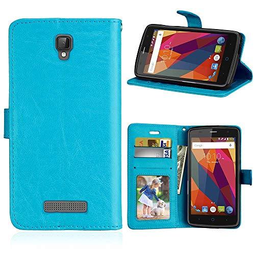 JEEXIA® Funda para ZTE Blade L5 Plus, Moda Business Flip Wallet Case Cover PU Cuero con Soporte Cubierta Protectora - Azul