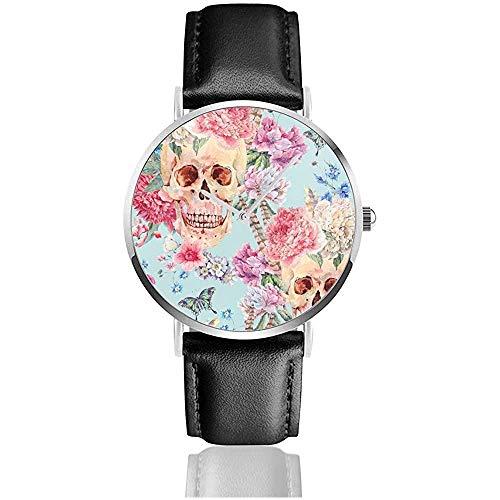 Schädel und rosa Pfingstrose, Wildblumenstrauß, Schmetterling.1 Herrenuhr Uhren für Damen Lederarmband