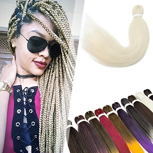 Hairro Pre-stretched Professional Braiding Hair Extensions Synthetic Hair 26 Inch Yaki Easy Braids Hot Water Setting EZ Braiding Twist Hair for African Box Jumbo Braid 4 Packs 613# Blonde