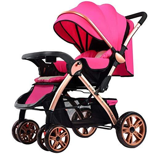 Eeayyygch Baby-Kinderwagen - High Landscape Zwei-Wege kann superleichte tragbare Falten-Allrad Stoßdämpfer Baby Kind Trolley, Lila sitzen (Farbe : Rosa, Größe : -)