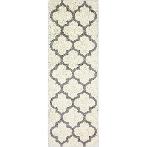 Runner Rug, Maples Rugs [Made in USA][Molly] 2' x 6' Non Slip Hallway Entry Area Rug for Living Room, Bedroom, and Kitchen - Cream