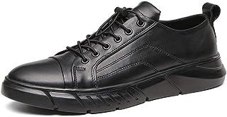 Xiang Ye Fashion Sneaker for Men Casual Low Top Skate Sport Shoes Elastic Lock Shoelaces Genuine Leather Platform Anti-Slip (Fleece Inside Option) (Color : Black, Size : 6.5 UK)