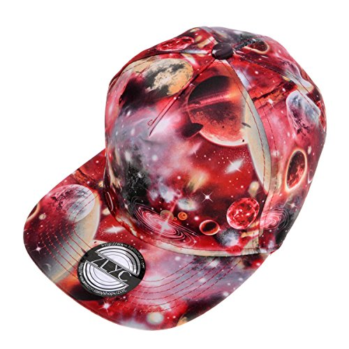 ZLYC Unisex Galaxy Snapback Hat Adjustable Flat Bill Baseball Cap, Red