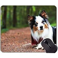 Yanteng Alfombrilla de ratón de Caucho Natural, Impresa con Border Collie de Mascota, Bordes cosidos
