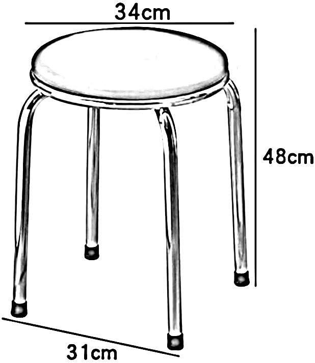 YCSD Tabouret De Table Ronde en Métal Empilable,Chaise De Coussin D'unité Centrale, Support en Métal,Portatif, Pack De 2 (Color : 02) 05