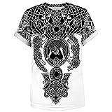 YTATY Vikings Camisa Kinder, Viking 3D Impresión Digital Camisetas Hombres Sueltos Casual de Manga Corta Camisetas