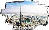TTWQ Pegatinas de pared Para dormitorio, sala de estar, oficina Dubai Burj Khalifa City City Skyline Emiratos Árabes Unidos 3D Look Wall Decal 70 x 115 cm Mural Sticker Decal