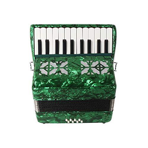22-Key 8 Bass Piano Akkordeon, Solo und Ensemble, Musikinstrument, mit Straps Handschuhen Reinigungstuch Educational Musik-Instrument für Studenten Anfänger Childerns,Grün