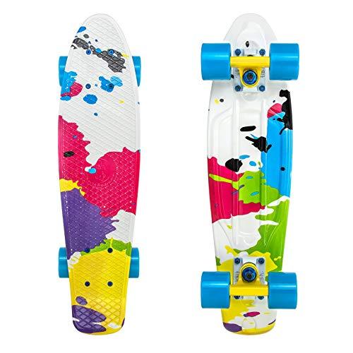 FISH SKATEBOARDS Skateboards Complete 22 Inch Mini Cruiser Retro Skateboard for Kids Boys Girls Youths Beginners, Assorted Styles
