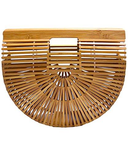 Synker Damen Henkeltaschen Bambus Handtasche Handgefertigt Taschen Strandtaschen Shopper